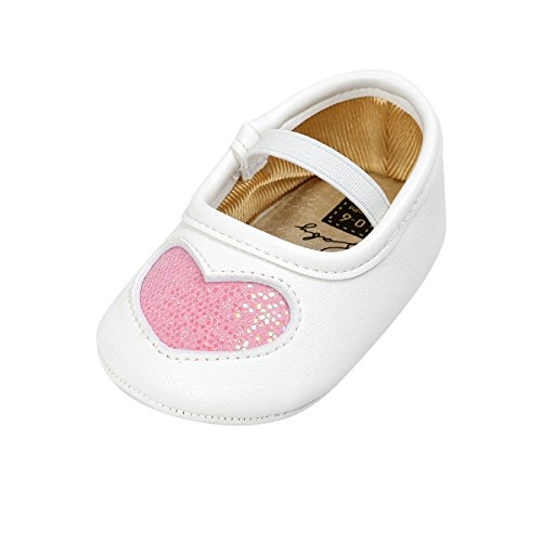 Kuner Baby Girls PU Leather Embroidered Soft Bottom Princess Shoes First Walkers (13cm(12-18months), White+Pink) (Leather White Pink Shoes)
