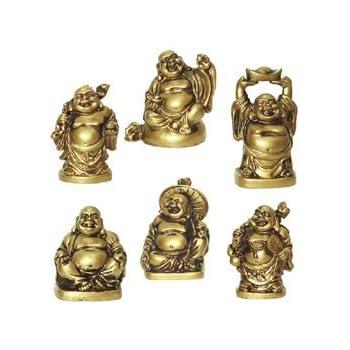 Happy laughing Figurine Buddha Statue, Set of 6, 2 Inches, Bonze