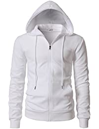 Mens Casual Zip-up Hoodie Double Cotton Lightweight Hooded of