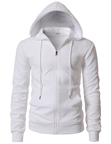 Classic Sweatshirt Drawstring - H2H Men's Basic Classic Fit Zip-up Hooded Sweater White US XL/Asia 2XL (KMOHOL0131)