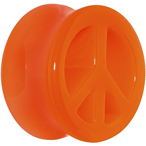 (Body Candy 18mm Acrylic Neon Orange Peace Sign Tunnel Ear Gauge Plug (1 Piece))