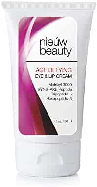 AGE DEFYING EYE & LIP CREAM by nieuw beauty. Anti-Aging for Women and Men. Firming & Long Term Reduction for Wrinkles, Bags & Dark Circles. Tightens, Firms and Hydrates for All Skin Types (1 oz)