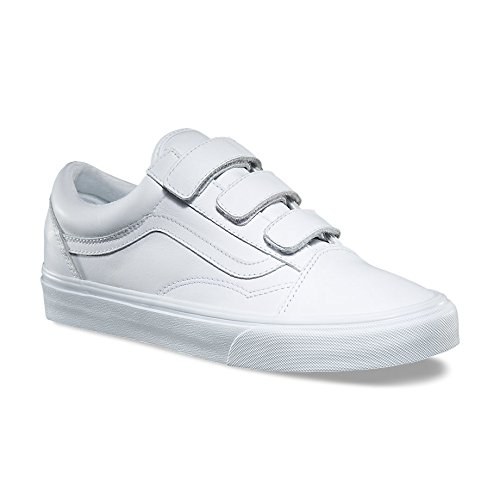 Vans Old Skool V Unisex Trainers White White - 10.5 UK (Vans Strap Shoes)