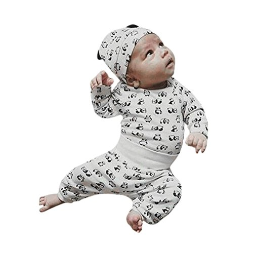 Sunbona 3Pcs Toddler Baby Boys Girls Cartoon Panda Printed Long Sleeve Blouse+Pants With Hats Outfit Set Clothes (0~3months, White) Le Top Receiving Blanket