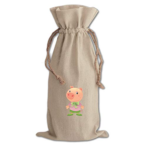Pig Dressed Up Animals Cotton Canvas Wine Bag, Cotton Drawstring Wine Pouch