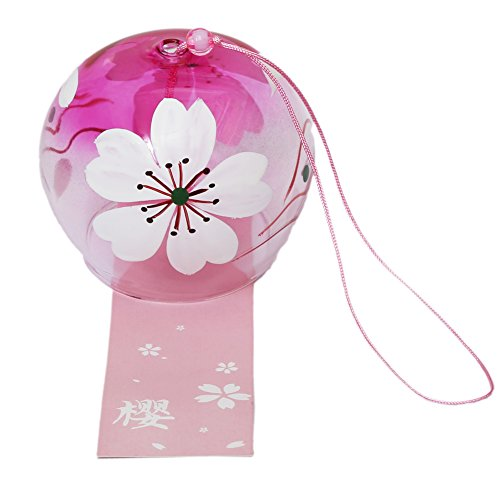 Japanese Wind Chimes Wind Bells Handmade Glass Birthday Gift Christmas Gift Home Decors Japanese Cherry Blossom Wind Chimes (Little Flower) ()