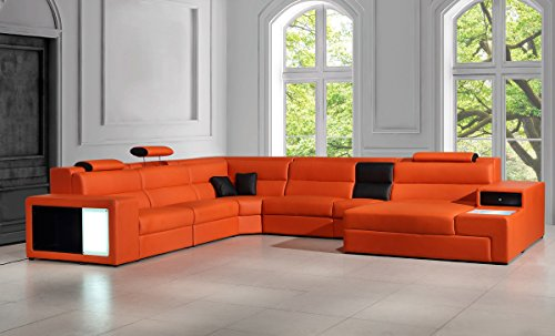 Divani Casa Polaris   Contemporary Bonded Leather Orange Sectional Sofa