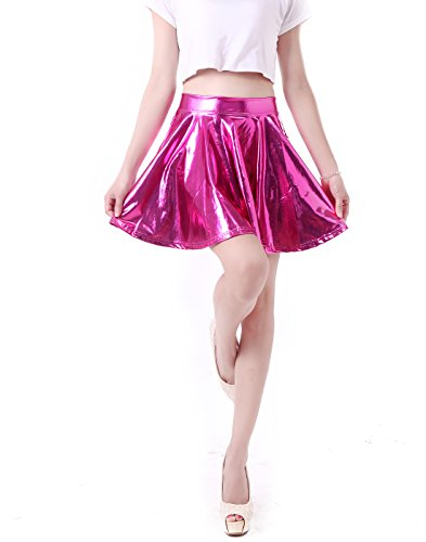 Women's Casual Fashion Flared Pleated A-Line Circle Skater Skirt (Hot Pink, Large) (Disco Themed Clothes)