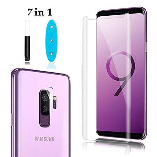 Galaxy S9 Plus Screen Protector Tempered Glass Include a Camera Lens Protector,Glass Screen Protector with 3D Curved HD Clear Full Coverage for Samsung Galaxy S9 Plus