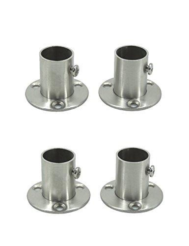Stainless Steel Closet Wardrobe Rod Holder Socket End Support Bracket Flange for 19mm (Set of 4) ()