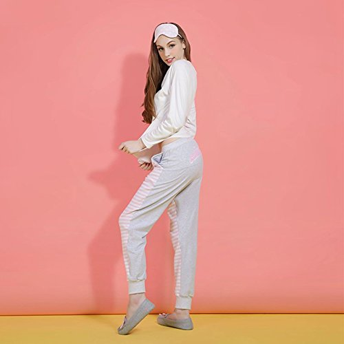 MH-RITA Pijamas Otoño de algodón de manga larga y pantalones de Cartoon dulce Encantadora ropa casual puede ser usado fuera de Palo L (170 yardas) M (165 yardas)