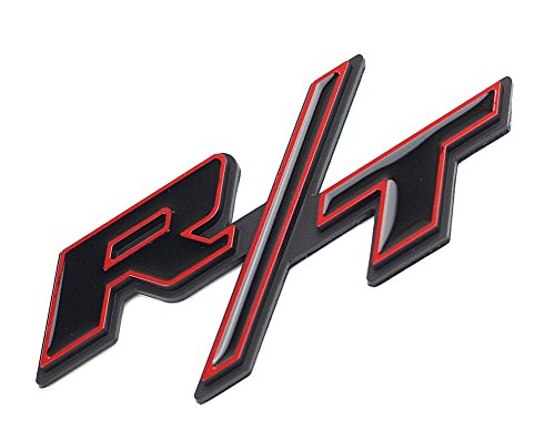 Aimoll 1pcs R/T RT Side Fender Trunk Hatch Deck Lid Boot Emblem Badge Sticker for Dodge Challenger Charger Ram 1500 Jeep Grand Cherokee (Glossy Red Edge Black)