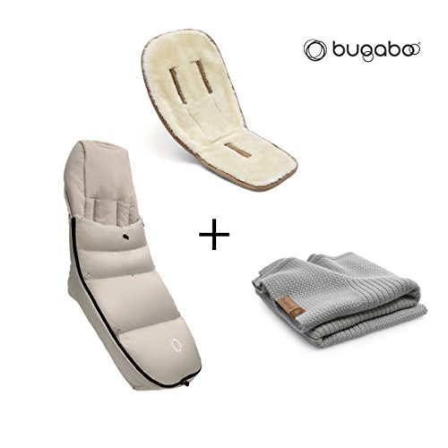 Bugaboo Winter Accessories Bundle: Wool Seat Liner, Light Grey Melange Wool Blanket and Artic Grey High Performance Footmuff