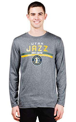 (NBA Utah Jazz Mens T-Shirt Performance Quick Dry Long Sleeve Tee Shirt, Charcoal, Small)