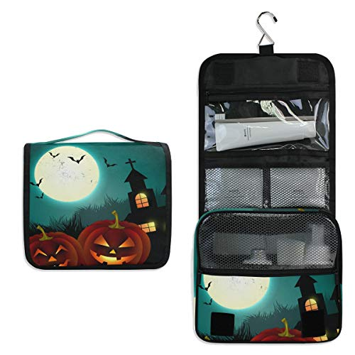 (Makeup Bag Bat Halloween Pumpkin Cosmetic Pouch Large Travel Organizer Portable Train Case Hanging Toiletry Bag for Women Girl)