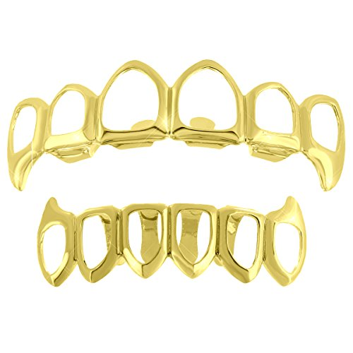 [Open Face Mouth Grillz Top Bottom 14k Yellow Gold Plate Halloween Sale Custom Fit Tooth Caps] (Celebrity Halloween Costumes For Sale)