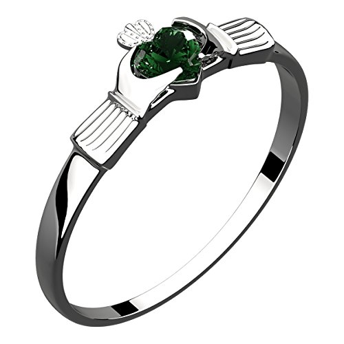 GWG Sterling Silver Claddagh Ring with Heart Shaped Emerald Green Zircon Stone Under Crown for Women – 7 by GWG Jewellery
