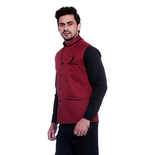 413stRmk QL. SS500  - BIS Creations Men's Solid Maroon Waistcoat