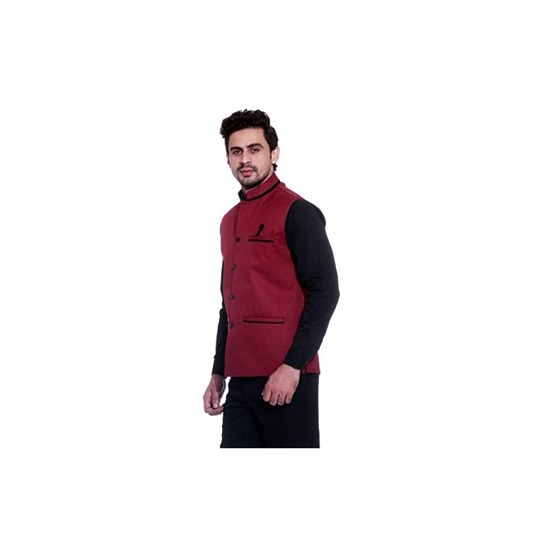 413stRmk QL. SS768  - BIS Creations Men's Solid Maroon Waistcoat