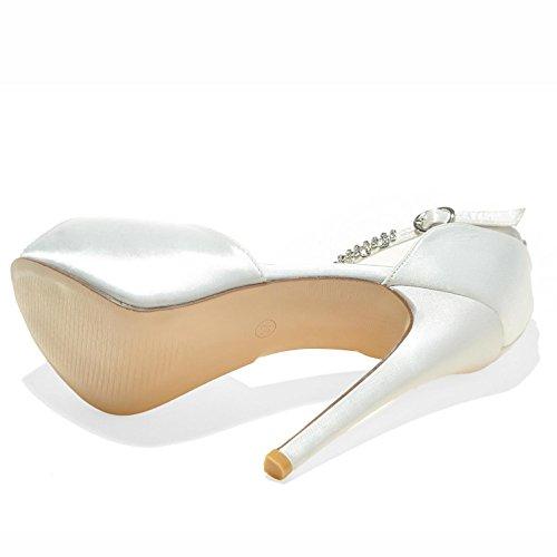 Dedo Pie Toe Tacones Altos Satén Bombas TY Peep Las 21 Mujeres La 3128 de del Ivory del Sandalias Elobaby del de Zapatos Boda de Seda OZxwqwTd