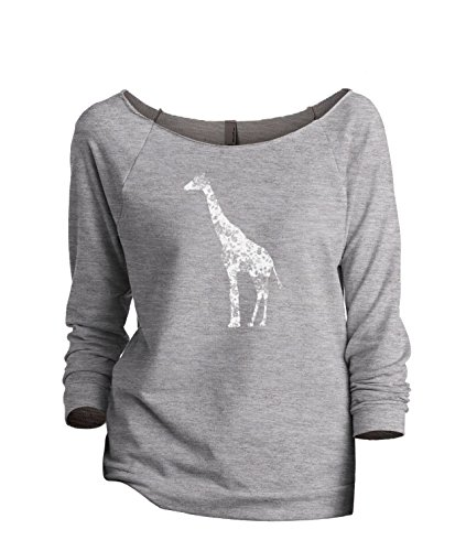 Thread Tank Floral Giraffe Women's Fashion Slouchy 3/4 Sleeves Raglan Sweatshirt Sport Grey Large