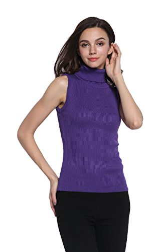 - Sofishie Sleeveless Ribbed Turtle Neck Sweater Tunic - Purple - Small