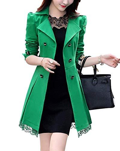 Trench Femme Fashion Printemps Automne Dentelle Splicing Coat Vtements lgant Longues Slim Fit Manteau Double Boutonnage Revers Long Manches Manteau De Transition Outerwear Grn