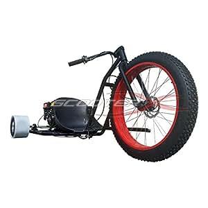 ScooterX Drifter 6.5hp 196cc Drift Trike Drifting Go Kart that goes 40mph! Black with Red Wheel