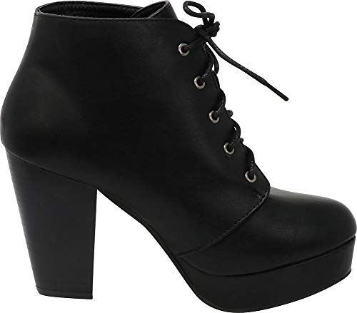 Ankle up Heel Select Cambridge Platform Lace Bootie Stacked Women's Chunky Black 78anf