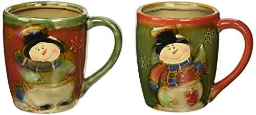Christmas Snowman 18 Ounce Coffee Mug Set (Christmas Mug Snowflake)