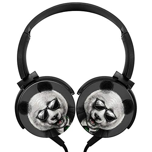 Cool Gentleman Panda Wired Headphones Headsets 3D Printing Foldable Over Ear For Kids or Adults Black ()