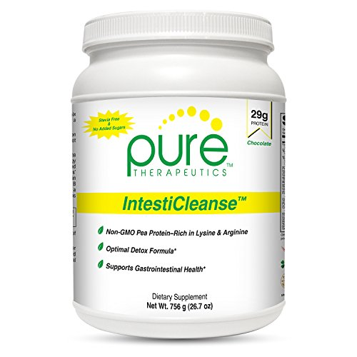 IntestiCleanse ''Chocolate'' - 29g of Pure Vegan Protein, a Non-Gmo Pea Protein Blend Sweetened with Monk Fruit | Features Aminogen and Quatrefolic | Gastrointestinal, Liver and Digestive Support by Pure Therapeutics