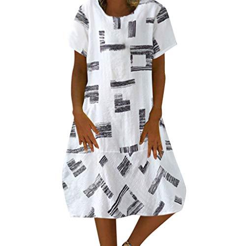 Yucode Women Printed Casual Plain Midi Dress Short Sleeve Loose Summer Dresses Beach Cover Up Dress White (Peaches Uniforms Uniform Length Mid)