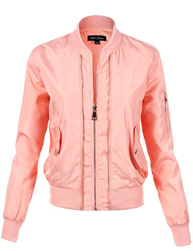 Solid Color Waist Length Fitted Style Zip Up Bomber Jackets