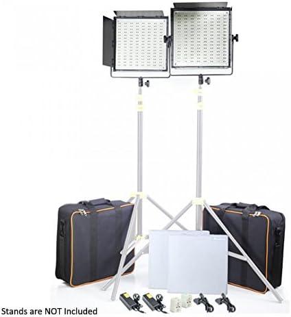 CAMTREE 2 pezzi. 1000 luce bianca di fotographia e video che fanno lo luce studio kit + accessori (C-1000-W-2)
