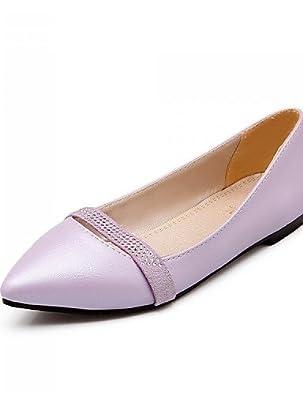 PDX/Damen Schuhe Kunstleder Flach Ferse Spitz Toe Wohnungen Casual Schwarz/Pink, - pink-us6 / eu36 / uk4 / cn36 - Größe: One Size