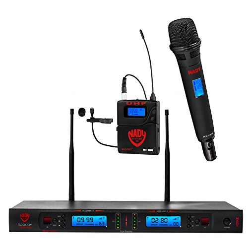 Ht System Handheld Uhf Wireless - Nady 2W-1KU HT-LT Dual True Diversity 1000-Channel Professional UHF Wireless System with 1 Handheld Microphone & 1 Lapel Microphone – Autoscan – Automatic Transmitter Pairing – All Metal Construction