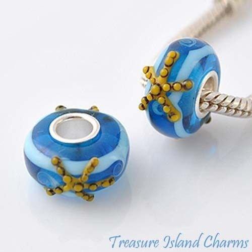 Starfish LAMPWORK Murano Glass .925 European Euro Bead Charm