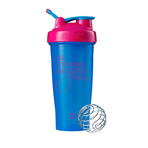 Be Strong BeYOUtiful Blender Bottle, 28oz Classic Protein Shaker Cup (Cyan/Pink - 28oz)