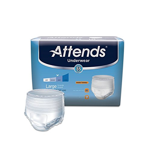 Attends Protective Underwear with DermaDry Technology for Adult Incontinence Care, Large, Unisex, 18 Count (Pack of 4)