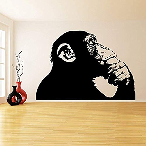 Decal Banksy Vinyl Wall Sticker Thinking Monkey One Color Realistic Smart Ape Decor Street Art Graffiti DIY Cut Mural Free Gift x SK657 ()