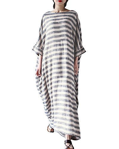 StyleDome Women's Batwing Sleeve Baggy Striped Kaftan Plus Size Long Maxi Dress...