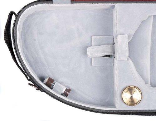 Bobelock Half Moon Puffy 1047P 4/4 Violin Case with Red Exterior and Grey Interior