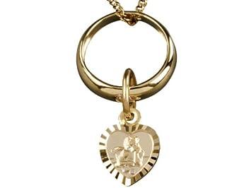 Taufgeschenke Schutzengel-Taufring Gold Goldener Taufring mit Schutzengel-Herz