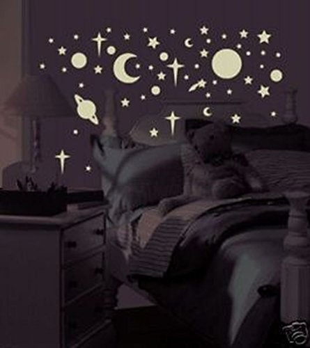 Lunarland GLO in the DARK 258 Wall Stickers Stars Planets Moon Sun Space Room Decor Decals