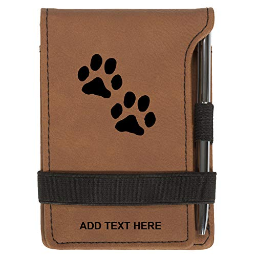 (Personalized Mini Notepad Holder Set - Pocket Memo Pad Jotter Notebook Case - Includes Mini Note Pad & Pen to Jot Notes and Writing To Do List - Dog Paw Prints, Rawhide)
