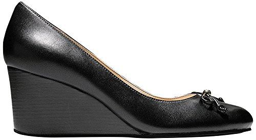Cole Haan Womens Elsie Lace Wedge 65mm 8.5 Black Leather by Cole Haan