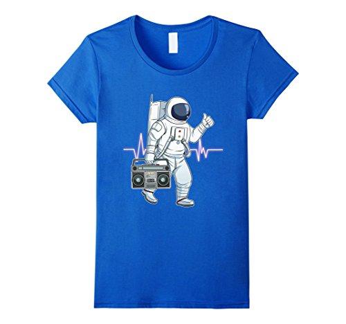 Womens Retro Astronaut T-Shirt Space Boombox Graphic Shirt Hip Hop Small Royal Blue
