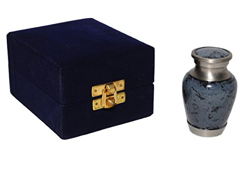 Maus Granite Keepsake Urn - Forever Remembered Keepsake Urn With Fancy Box - Blue Token Urns - Keepsake Cremation Urn - Handcrafted Mini Urn for Ashes