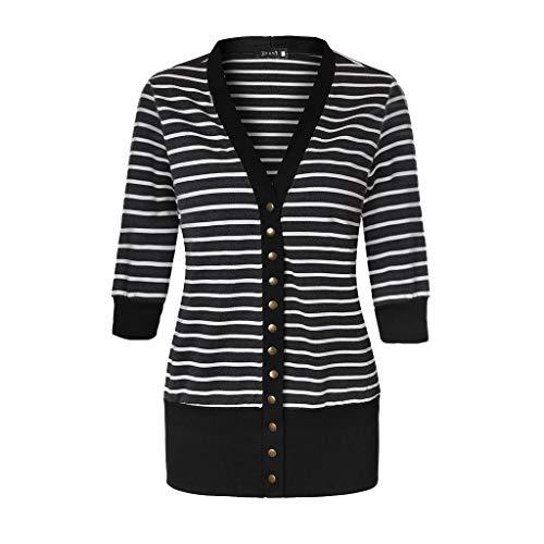 EFAN Women Snap Button Down Stripe Contrast Color V Neck Long Sleeve Cardigan (3/4sleeve-black, M) (Sleeve Cardigan V-neck 3/4)